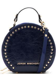 Bolsa Couro Jorge Bischoff Tachas Azul-Marinho