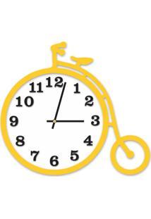 Relógio De Parede Decorativo Escultura Bicicleta Amarelo Com Detalhe Branco E Preto Ônix 36X40Cm Grande