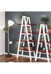 Estante Escada Book 180 X 77 X 33 Branco/Vermelho - Urbe Móveis