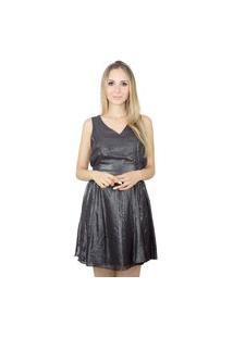 Vestido Liage Curto Liso Brilho Decote V Transparência Tecido Metalizado Preto