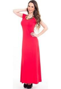 Vestido Longo Evazê Van - Feminino-Coral