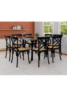 Conjunto De Mesa De Jantar Com 8 Cadeiras E Tampo De Vidro Katrina Preto