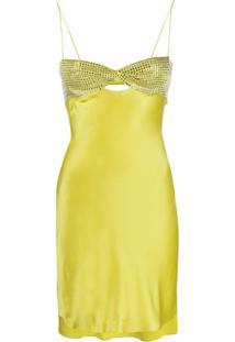 Alessandra Rich Vestido Com Aplicação De Pedraria - Amarelo