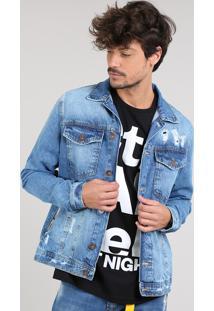 Jaqueta Jeans Masculina Trucker Destroyed Com Bolsos Azul Médio