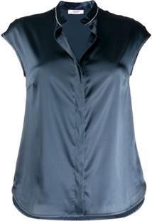 Peserico Blusa Com Efeito Metálico - Azul