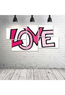 Quadro Decorativo - Pink-Love - Composto De 5 Quadros - Multicolorido - Dafiti