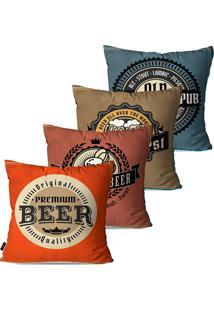 Kit Com 4 Capas Para Almofadas Pump Up Decorativas Coloridas Retrã´ Beer 45X45Cm - Laranja - Dafiti