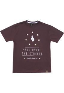 Camiseta Simple Skateboard All Over The Streets Roxo