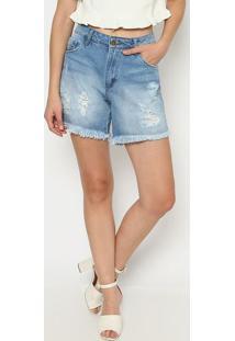 Bermuda Jeans Desfiada - Azul - My Favorite Thingsmy Favorite Things
