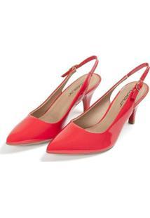 Sapato Piccadilly Chanel Salto Alto Feminino - Feminino-Vermelho