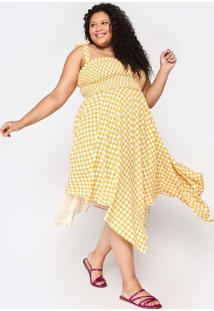 Vestido Almaria Plus Size Tal Qual Midi Amarelo