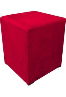 Puff Decorativo Dado Quadrado Suede Vermelho - D'Rossi