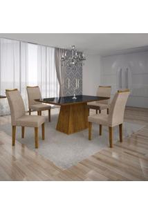 Conjunto Sala De Jantar Mesa Tampo Mdf/Vidro Preto E 4 Cadeiras Pampulha Leifer Canela/Linho Bege