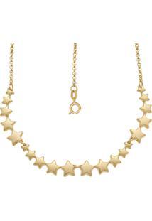 Gargantilha Prata Mil Com 20 Estrelas Estampadas Reticuladas Dourado