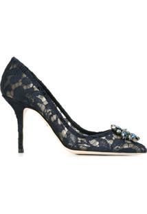Dolce & Gabbana Sapato De Seda E Couro - Azul