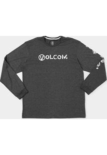 Camiseta Volcom Silk Stone Spew Manga Longa Masculina - Masculino