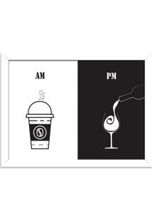 Quadro Decorativo Am Café Pm Vinho Branco - Médio