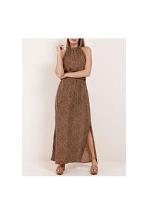 Vestido Longo Estampado Feminino Marrom