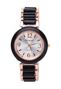 Relógio Feminino Quartzo De Aço Números Árabes - Preto