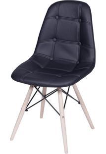 Cadeira Eames Botone Preta Base Madeira - 32074 Sun House