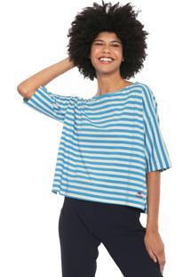 Blusa Cantão Over Listrada Off-White/Azul