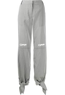 Off-White Printed Logo Tie Cuffs Trousers - Cinza