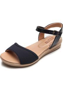 Sandália Comfortflex Anabela Azul-Marinho