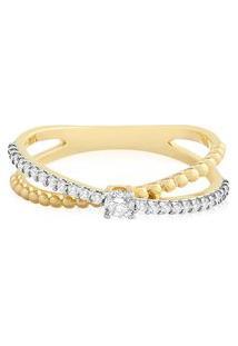 Anel Ouro Amarelo Com 19 Pontos De Diamantes