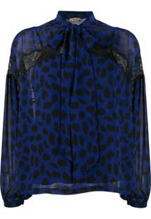 Liu Jo Sheer Lace-Detail Blouse - Azul