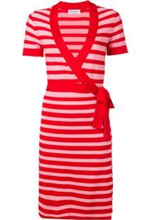 Sonia Rykiel Vestido Envelope De Tricô Listrado - Vermelho