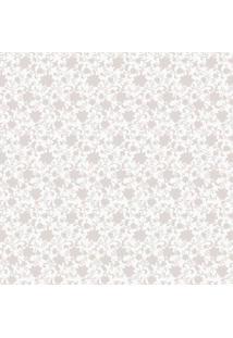 Papel De Parede Floral- Branco & Bege- 1000X52Cmshark Metais