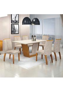 Conjunto Sala De Jantar Mesa Tampo Mdf/Vidro 6 Cadeiras Alemanha Leifer Flex Color Imbuia Mel/Off White/Pena Palha
