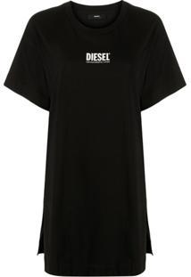 Diesel Vestido Reto Com Estampa De Logo - Preto