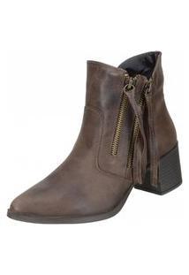 Bota Dududias10 Ankle Boot Tirinhas Marrom