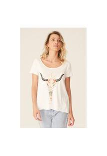Camiseta Oneill Feminina Estampada Bones Off White
