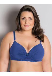 Sutiã Plus Size Azul Com Renda Christian Gray
