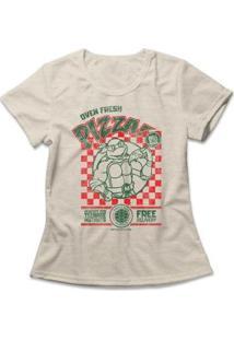 Camiseta Feminina Tartarugas Ninja Oven Fresh Pizza - Feminino-Mescla