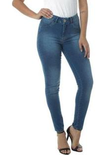 Calça Jeans Cigarrete Linda Z Mid Rise Skinny 206621299 Azul 54 - Feminino