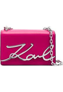 Karl Lagerfeld Bolsa Signature Pequena - Rosa