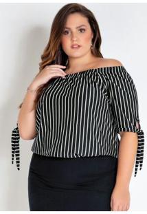 Blusa Ciganinha Plus Size Listrada