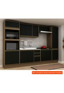 Cozinha Compacta Safira 13 Pt 3 Gv Preta E Avelã