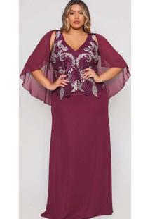 Vestido Almaria Plus Size Pianeta Longo Capa Roxo