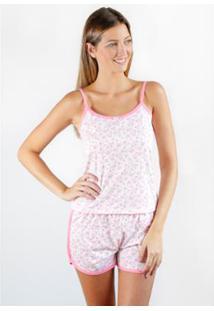 Pijama Regata Gislal Verão Shorts Doll Feminino - Feminino-Branco+Rosa
