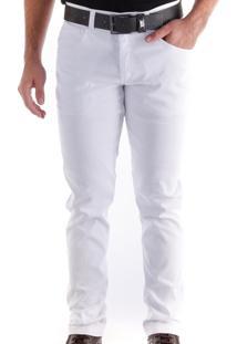 Calça 3010 Sarja Branca Traymon Modelagem Slim