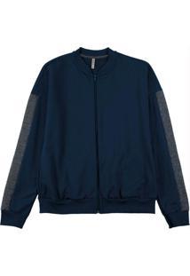Jaqueta Em Moletom Com Bolso Azul