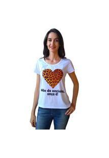 Camiseta Calupa Onça Oncinha Tal Mãe Tal Filha Branca