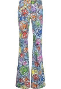 Versace Calça Jeans Flare Com Estampa Medusa Amplified - Azul