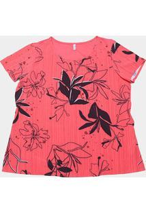 Blusa Cativa Plus Size Básica Floral Feminina - Feminino-Vermelho Claro