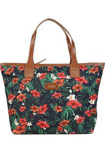 Bolsa Santa Lolla Shopper Tecido Flores-045923A8 - Feminino-Verde