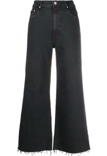 Mother Calça Jeans Flare Destroyed - Preto